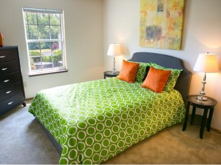 Bedroom at Lake Forest Apartments in Westerville, OH.