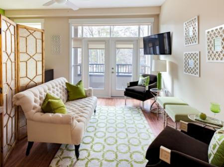 Living room at St. Mary's Square Apartments in Raleigh, NC