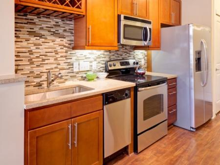 View of kitchen at St. Mary's Square Apartments in Raleigh, NC
