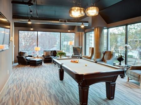 Pool table at St. Mary's Square Apartments in Raleigh, NC