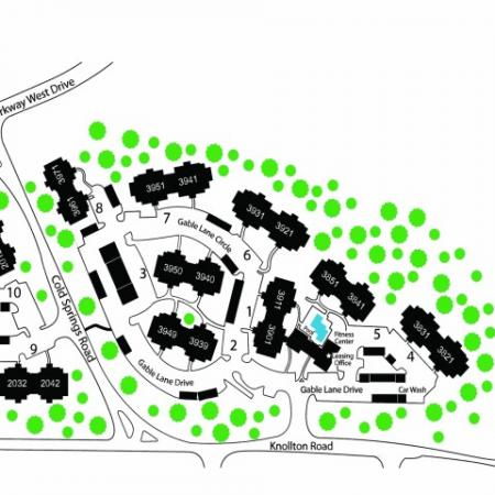Site Map of Residence at White River Apartments in Indianapolis, Indiana