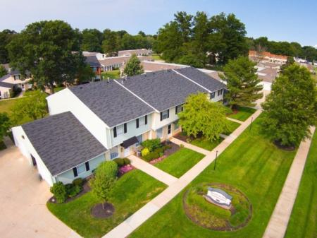 Ariel view of Westchester Townhomes Rental Homes in Westlake, OH