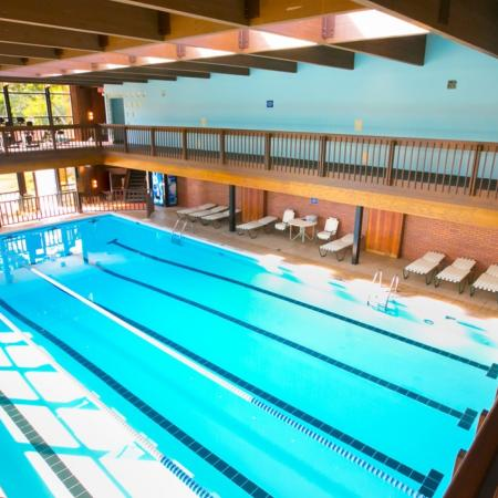 Enjoy our indoor swimming pool with poolside WiFi at Williamsburg Townhomes Rental Homes in Sagamore Hills, OH
