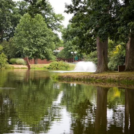 Stocked fishing pond at Williamsburg Townhomes Rental Homes in Sagamore Hills, OH