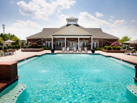 Outdoor pool with The Belvedere Apartments in North Chesterfield, VA