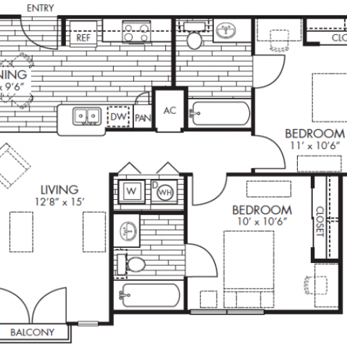 2bd/2ba floor plan