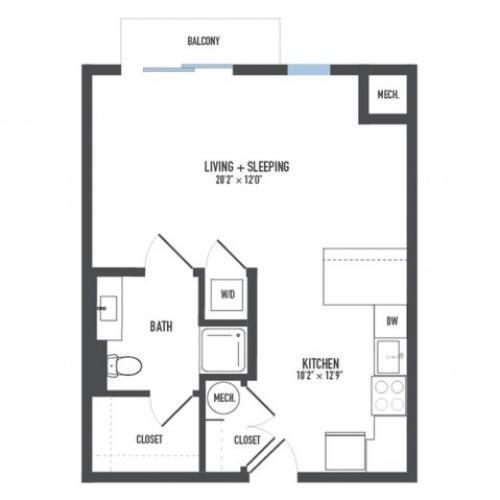 Floor Plan 2 | 1 Bedroom Apartments Pittsburgh Pa | Arsenal 201