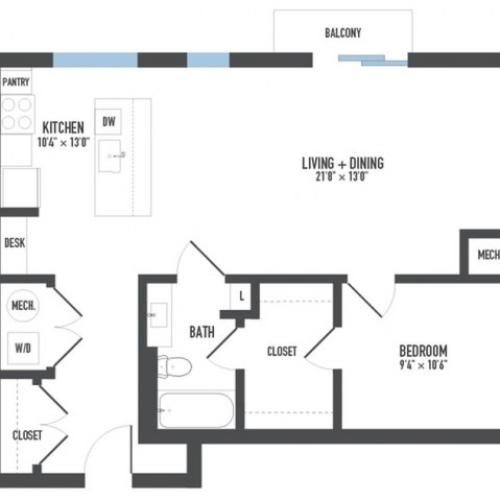 Floor Plan 7 | 1 Bedroom Apartments Pittsburgh Pa | Arsenal 201
