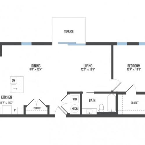 Floor Plan 12 | 1 Bedroom Apartments Pittsburgh Pa | Arsenal 201