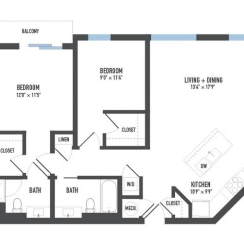 Floor Plan 19 | Luxury Apartments Pittsburgh Pa | Arsenal 201