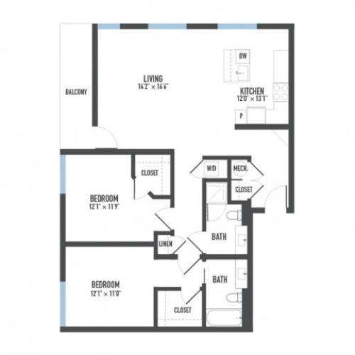 Floor Plan 22 | 1 Bedroom Apartments Pittsburgh Pa | Arsenal 201