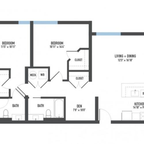 Floor Plan 23 | Pittsburgh Apartments | Arsenal 201