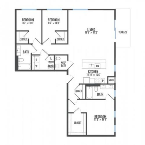 Floor Plan 29 | Luxury Apartments Pittsburgh Pa | Arsenal 201