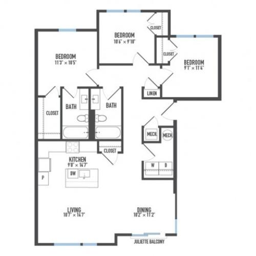 Floor Plan 31 | Luxury Pittsburgh Apartments | Arsenal 201