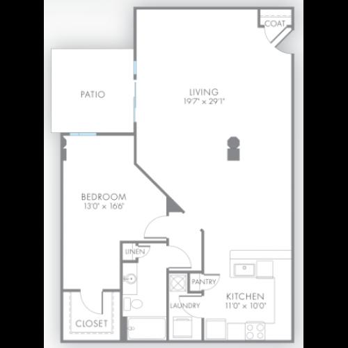 1 Bedroom Floor Plan | Indianapolis Apartments | Artistry