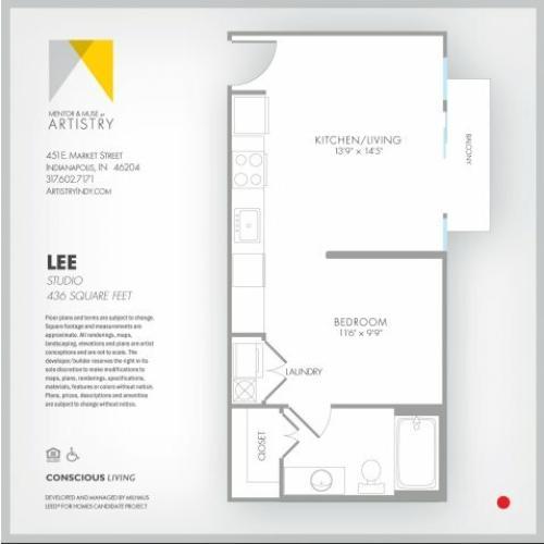 Studio Floor Plan | Apartment Rental Indianapolis | Artistry