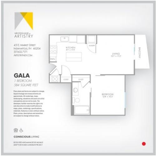 1 Bedroom Floor Plan | Indianapolis Apartments | Artistry