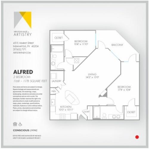 2 Bedroom Floor Plan | Apartment Rental Indianapolis | Artistry
