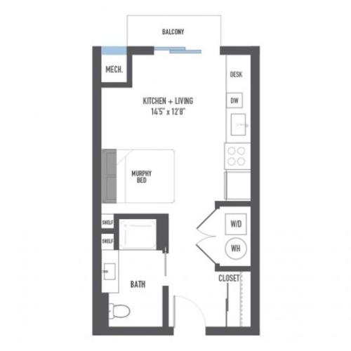 Floor Plan 1 | Luxury Pittsburgh Apartments | Arsenal 201