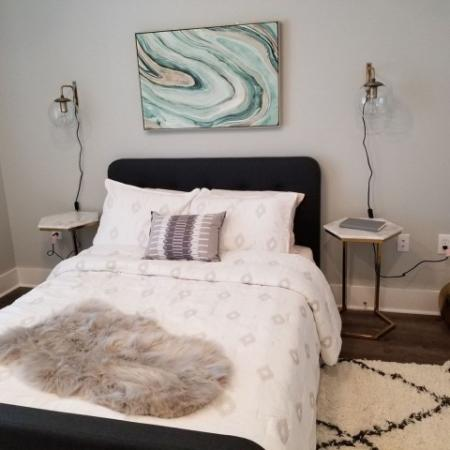 Elegant Bedroom   Luxury Apartments In Plainfield Indiana   Echo Park at Perry Crossing