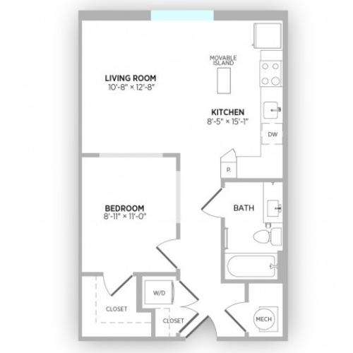 Studio Floor Plan | Apts in Kansas City Mo | Gallerie