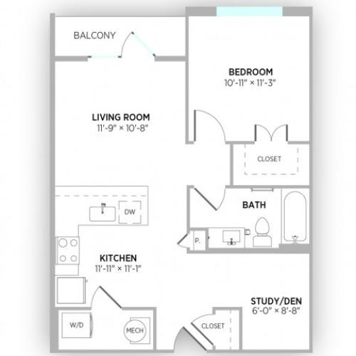 1 Bedroom Floor Plan | Luxury Apartments in Kansas City Missouri | Gallerie