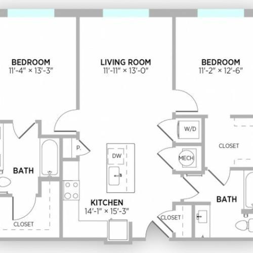 2 Bedroom Floor Plan | Apts in Kansas City Mo | Gallerie