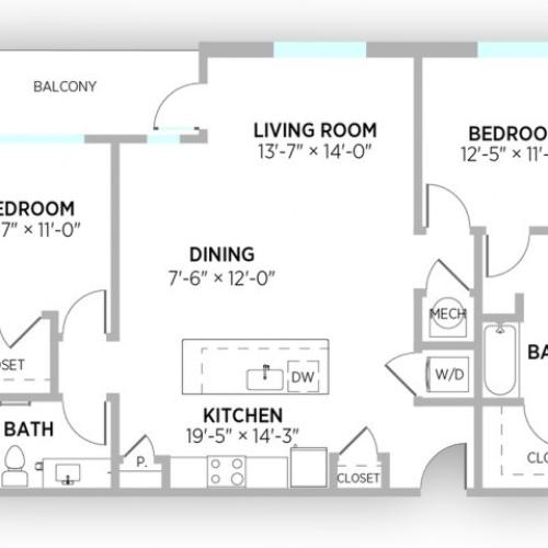 2 Bedroom Floor Plan | Apts in Kansas City Mo | Gallerie