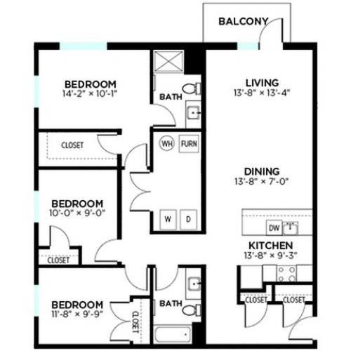Central - 3 Bed, 2 Bath