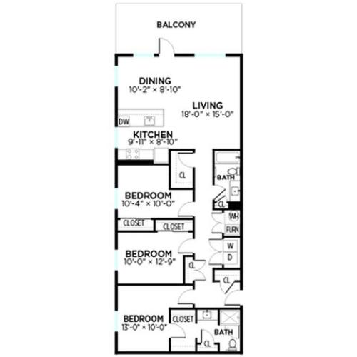 Hampton - 3 Bed, 2 Bath
