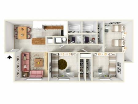 Standard Furniture  Upgraded Floors - 3Bed/2Bath