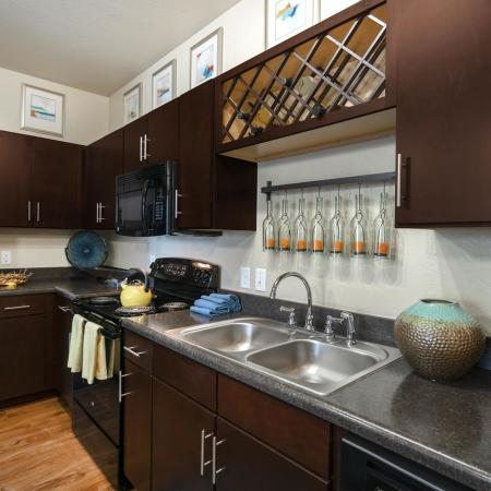 Apartment Kitchen with Appliances and Sink