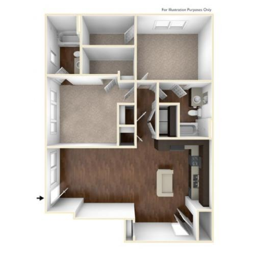 A 3D Drawing Of The B1U Floor plan