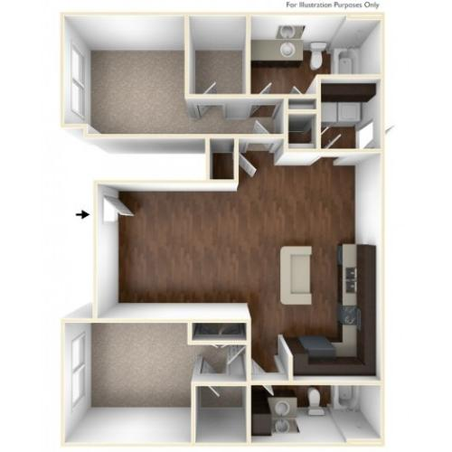 A 3D Drawing Of The B2U Floor plan