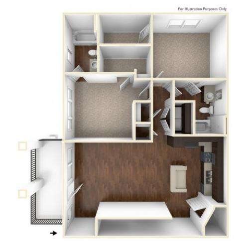 A 3D Drawing Of The B3U Floor plan