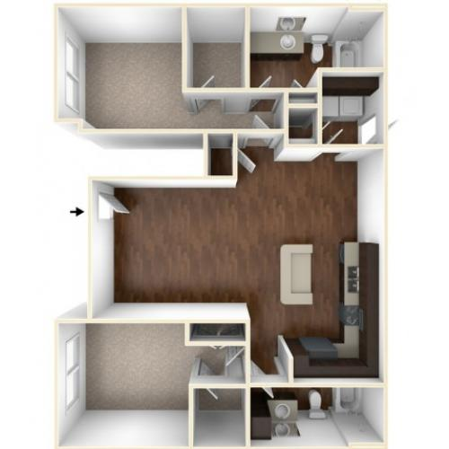 A 3D Drawing of the B2GU Floor Plan