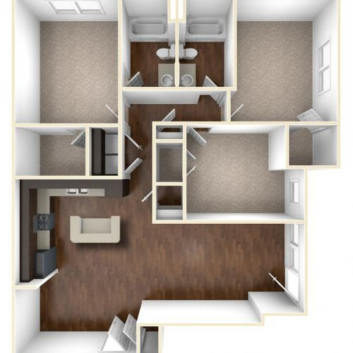 A 3D Drawing Of The C1 Floor plan