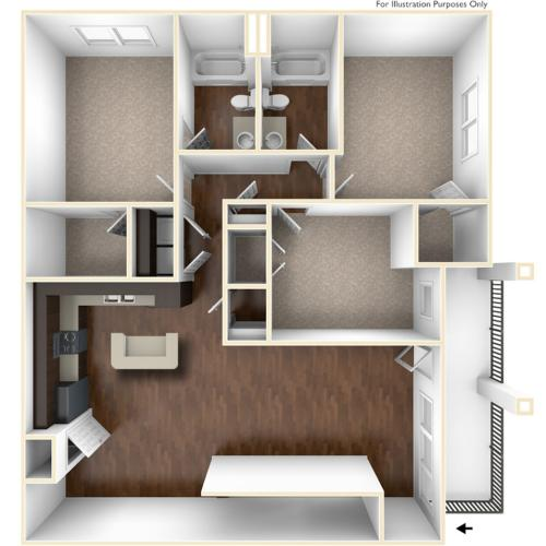 A 3D Drawing Of The C2 Floor plan