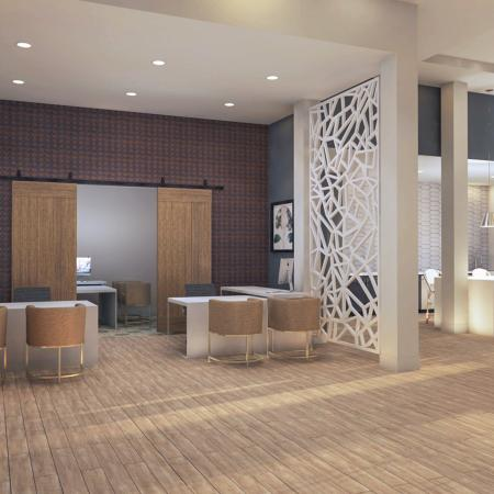Rendering of iterior clubroom and leasing office