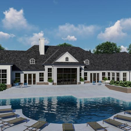 pool rendering on sunny and cloudy day