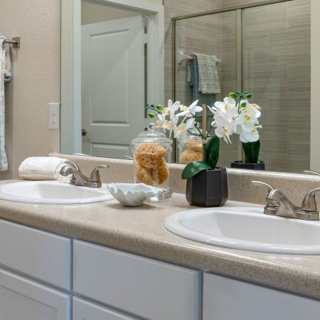 upclose of double vanity sink