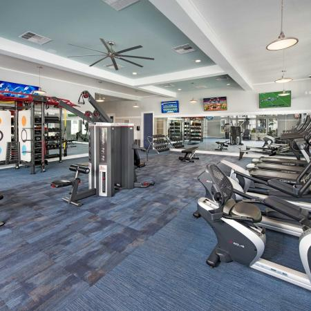 fitness center with high-end equipment and mirrors