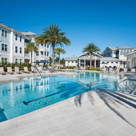 pool and apartment buildings on sunny day