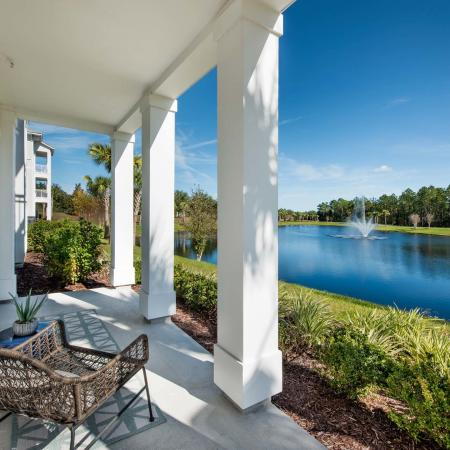 patio with furniture overlooking lake on sunny day