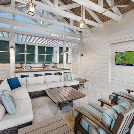 poolside seating and television