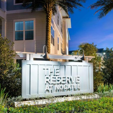 monument sign of The Reserve at Nocatee at nighttime