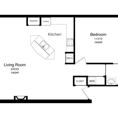 A4-1000 Square Foot Floor Plan Image