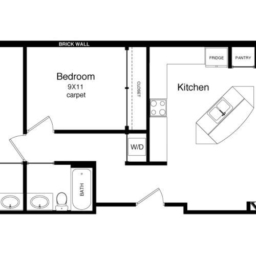 B1-1000 Square Foot Floor Plan Image