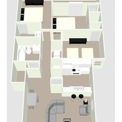 C1 - 3 Bedroom Floor Plan Image