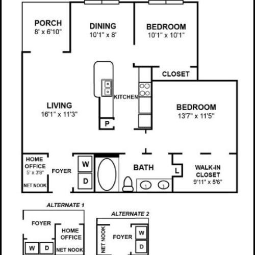 B1R2: 2x1 Floor Plan Image